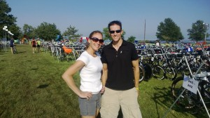 Racking bikes with Buffalo friends at transition